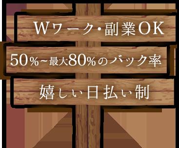 Wワーク・副業OK 50%~70%の高額バック 嬉しい日払い制
